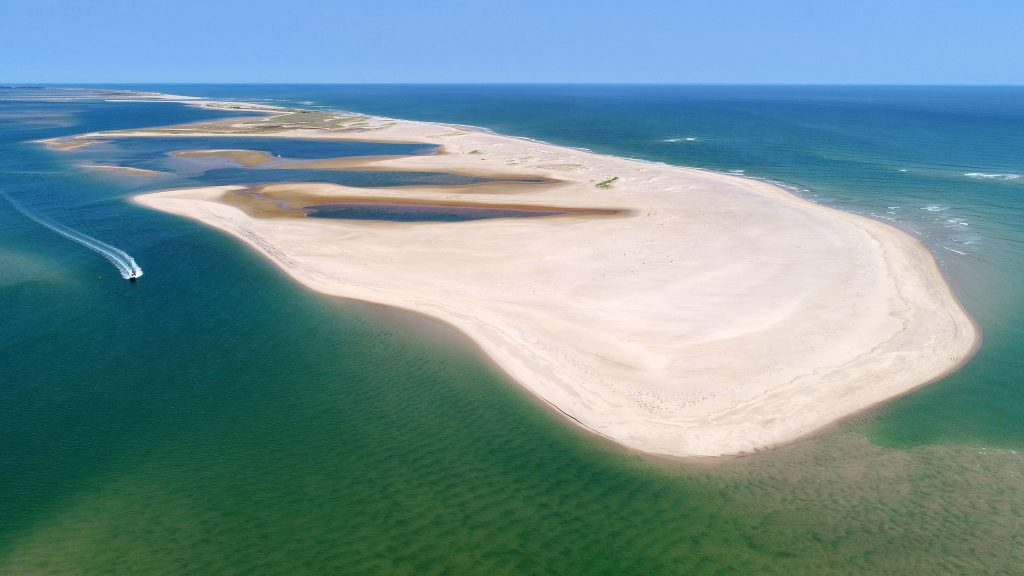 Aerial North Beach break Chatham Cape Cod Ma
