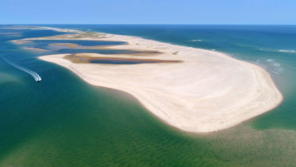 Aerial North Beach break Chatham Cape Cod Ma